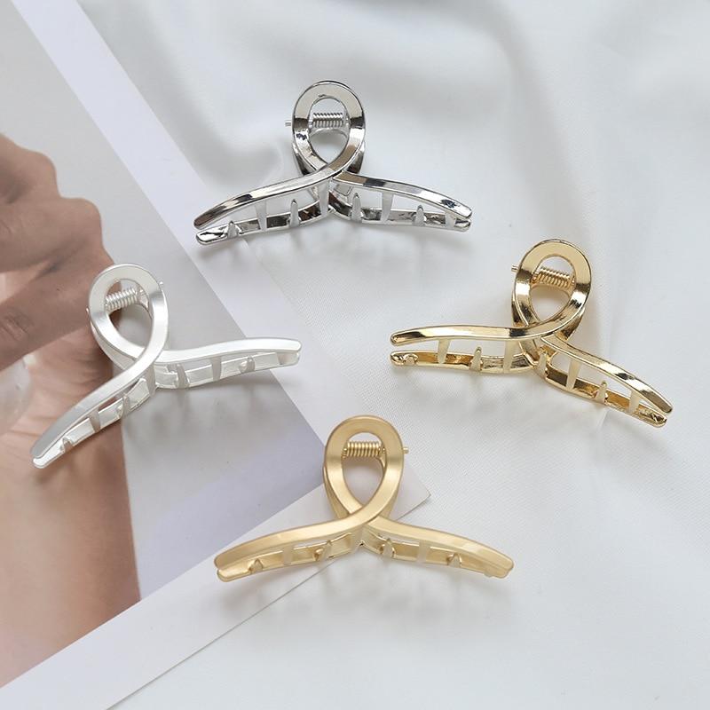 1PC Girls Hair Claw Women Alloy Hair Clamp Grab Hair Jaw Clip Grip Barrettes Korean Style Hair pin Metal Styling Accessories
