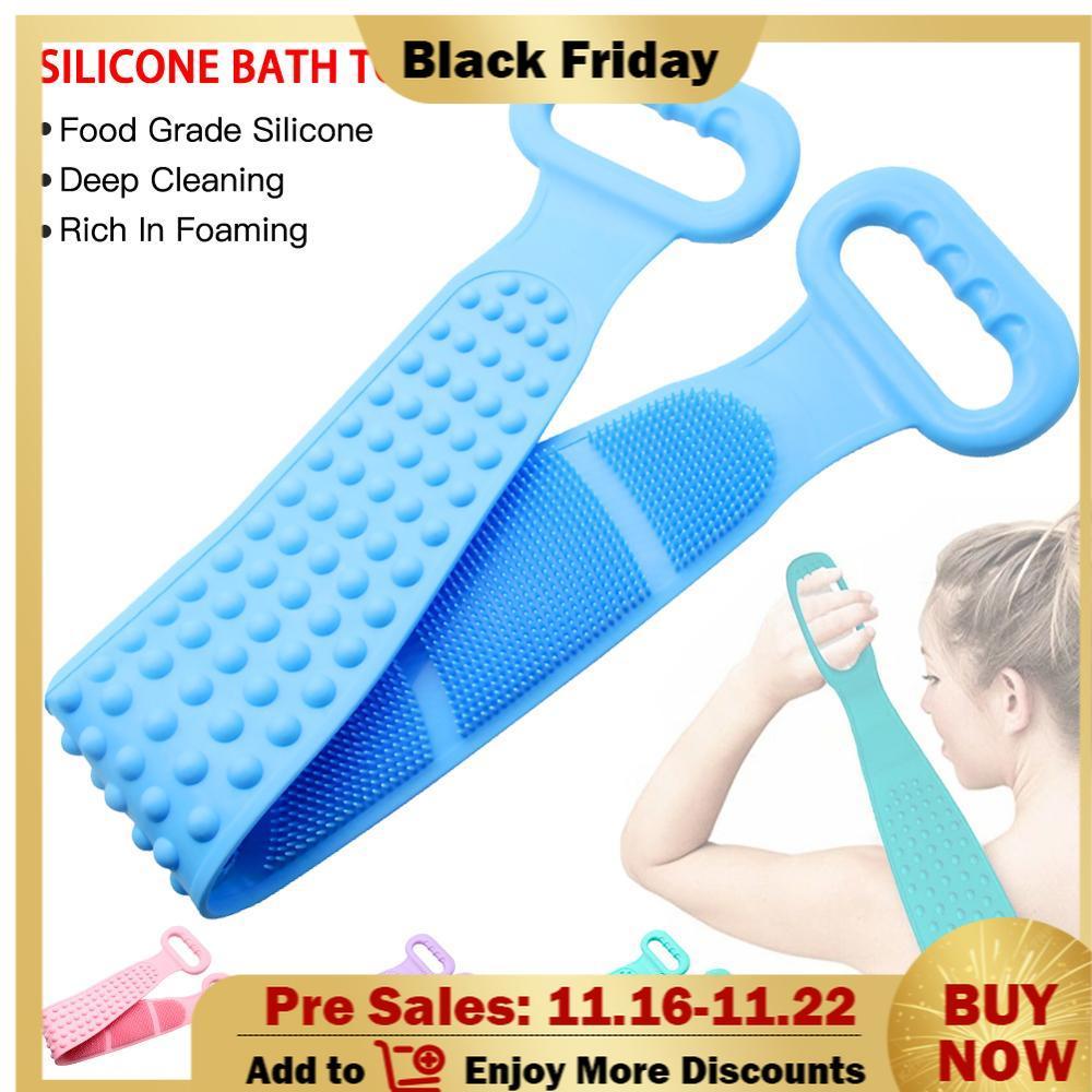 Силикон спина скраб глубокая очистка ванна душ силикон тело щетка ванна пояс отшелушивание спина щетка пояс для тела кожи ухода очистки