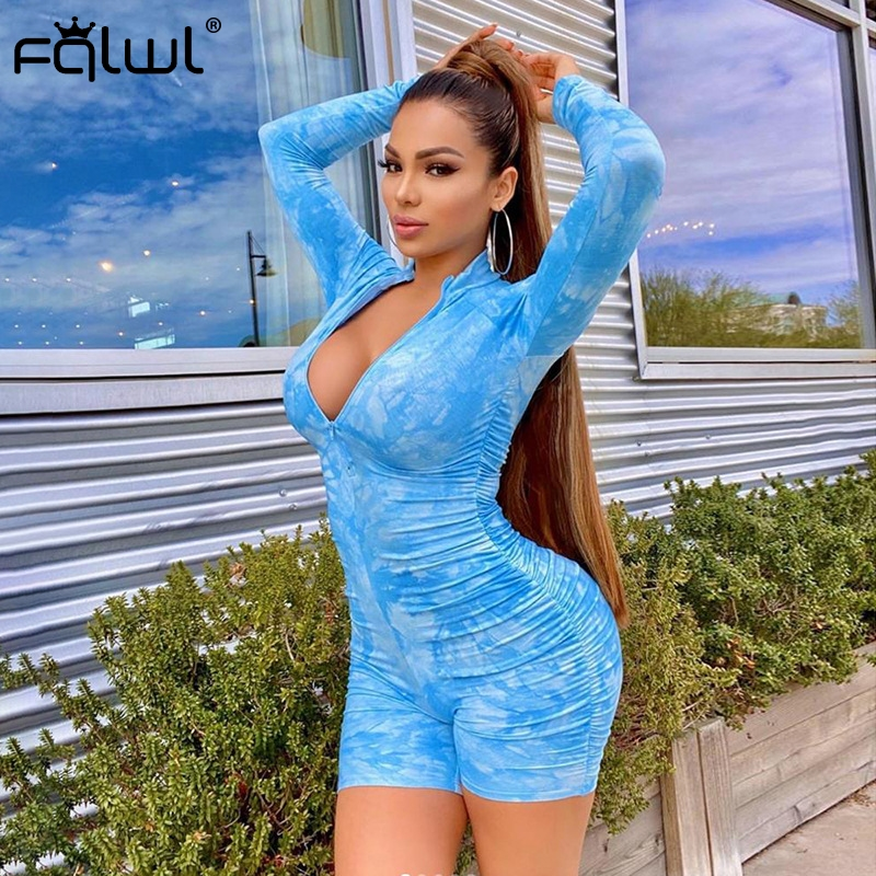 H9441cd0d73094dbf9625d5c49f606df2p - FQLWL Tie Dye Print Summer Sexy Bodycon Rompers Womens  Jumpsuit Playsuit Zipper Skinny Long Sleeve Ladies Short Jumpsuit Female