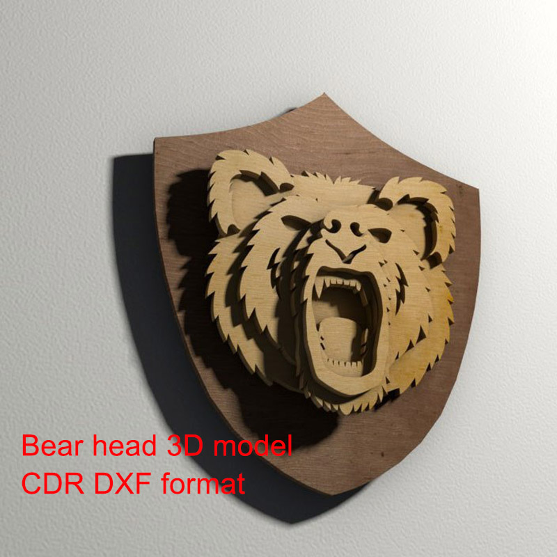 Hair Bear 3D Model CNC Laser Cutting File CDR DXF Format File Vector Design Drawing