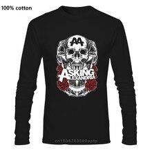 Camiseta de sombra negra de Asking Alexandria para hombre, camisa de manga larga de algodón, nueva Y OFICIAL, de moda