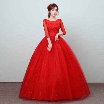 Vestido De Novia 2020 Classic Red O Neck Three Quarter Sleeve Cheap Wedding Dress Lace Applique Plus Size Lace Up Princess Gown