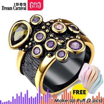 Special lady party los anillos único negro y oro plateado hecho con aaa zirconia cúbico bisel configuración de plomo y níquel libres