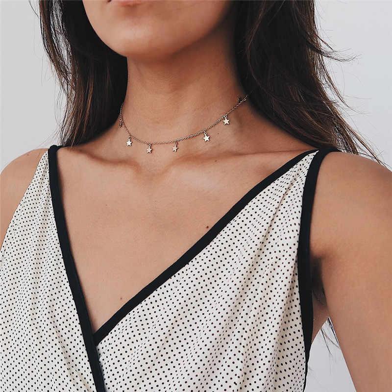 Złoty kolor oświetlenie na przyjęcie damski naszyjnik moda kobieta Choker naszyjniki biżuteria proste panie Pentagon-Star biżuteria prezenty