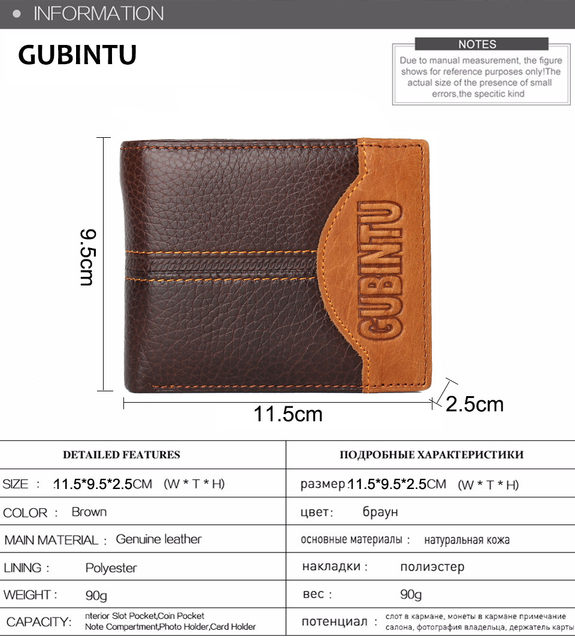H9442040206a1494e8e20cd15a74396a8h - GUBINTU Genuine Leather Men Wallets Coin Pocket Zipper Real Men's Leather Wallet with Coin High Quality Male Purse cartera