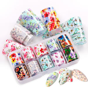 Nail-Foils-Set Flowers Marble-Design Butterflies Papers Wraps Spring-Transfer-Stickers