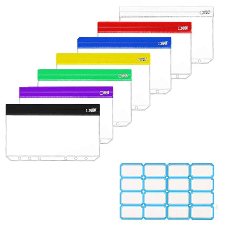 8 PCS 6-Ring Binder Pockets A6/A5 Multicolor PVC Binder Pockets with Metal Zipper Waterproof for Cash Envelopes/Bill Storage