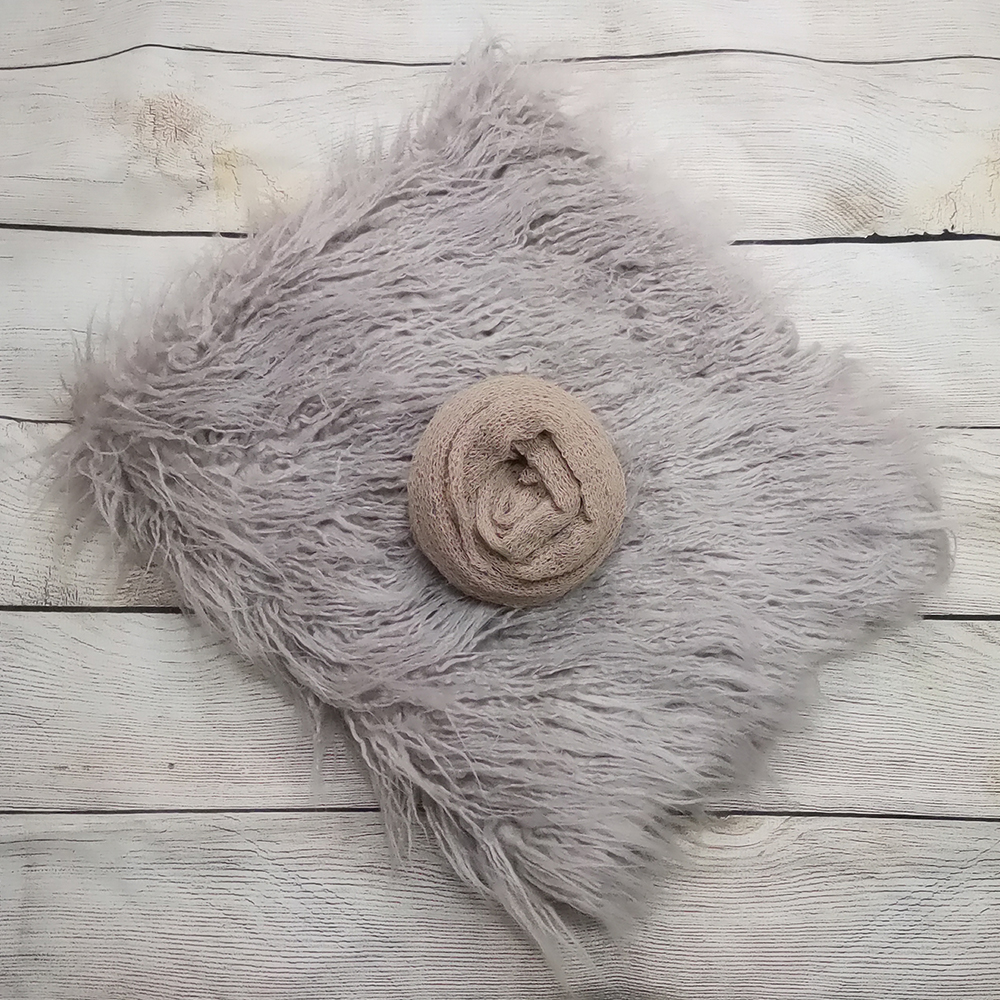 75*50cm Mongolia Faux Fur Photography Blanket+140*30cm Stretch Knit Wrap For Newborn Photography Props