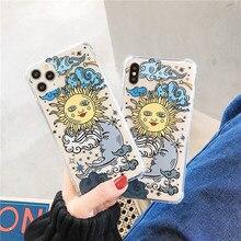Funda de teléfono divertida con diseño de cara de Sol para iphone 11 Pro max X XR Xs max, funda para iphone 7 8 6S plus, funda suave transparente de lujo a la moda