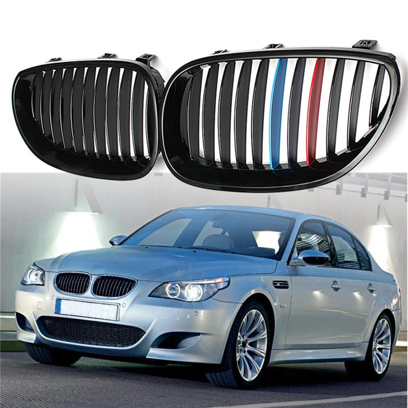 Car replacement Front Matte Black M-color Kidney Grill Grille For BMW E60 E61 <font><b>5</b></font> Series Sedan <font><b>2004</b></font> 2005 2006 2007 2008 2009 image