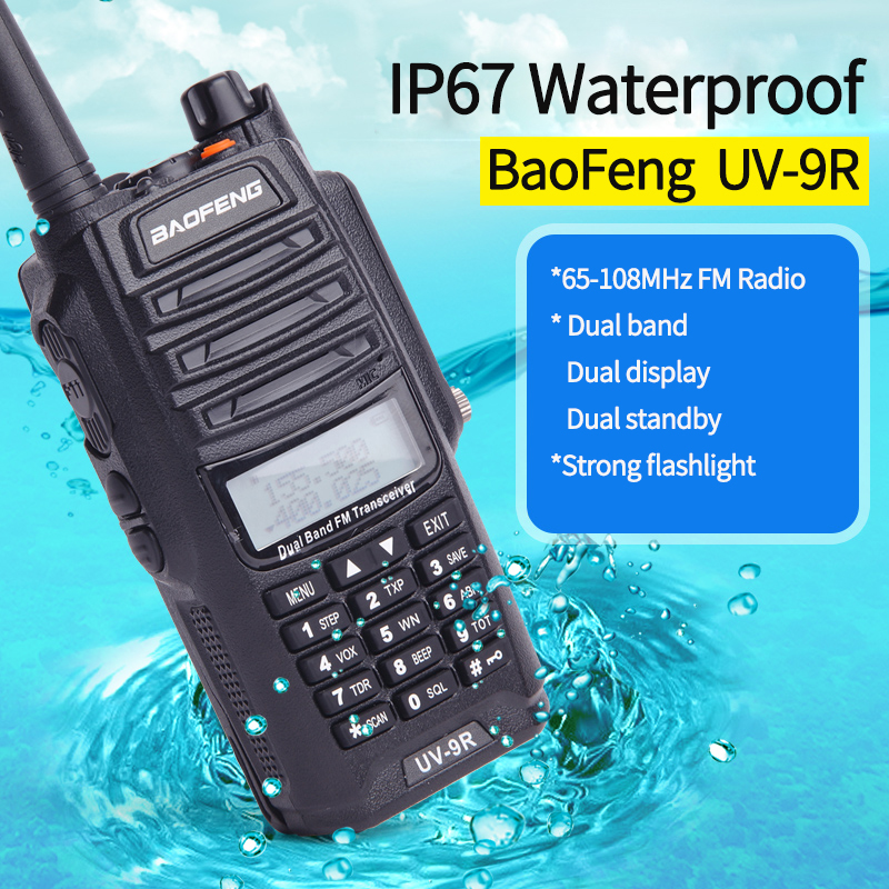 2PCS BaoFeng UV-9R IP67 Waterproof Handheld Walkie Talkie VHF 136-174MHz/ UHF 400-520MHz Dual Band UV 9R Ham Portable Radio