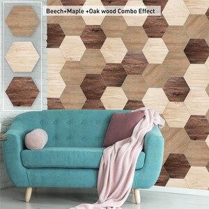 10Pcs PVC Hexagon Wood Grain W