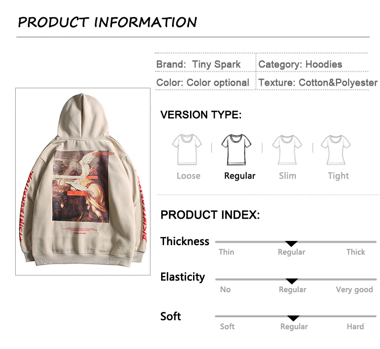 Men Hip Hop Hoodie Sweatshirt Retro Painting Print Harajuku Hooded Pullover Streetwear 2020 Autumn Cotton Loose Hoodies Winter