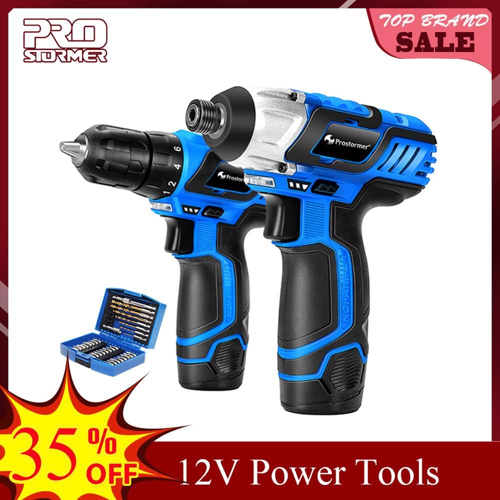 PROSTORMER 12V Electric Cordless Screwdriver Drill 100NM Torque Electric Drilling Machine Mini Hand Drill Wireless Power Tool