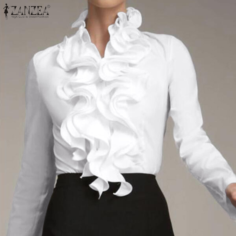 S 3XL ZANZEA Ladies Chic Tunic Tops Spring Office Ruffles Shirts Women Long Sleeve Elegant Work Flounce Blouse Female Blusas