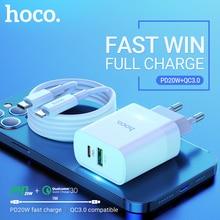 Hoco شاحن حائط USB C بمنفذ مزدوج PD QC 3.0 ، محول شحن سريع 20 واط لجهاز iPhone ، iPad ، type c ، مجموعة الكابلات ، PD20W ، مقبس الاتحاد الأوروبي