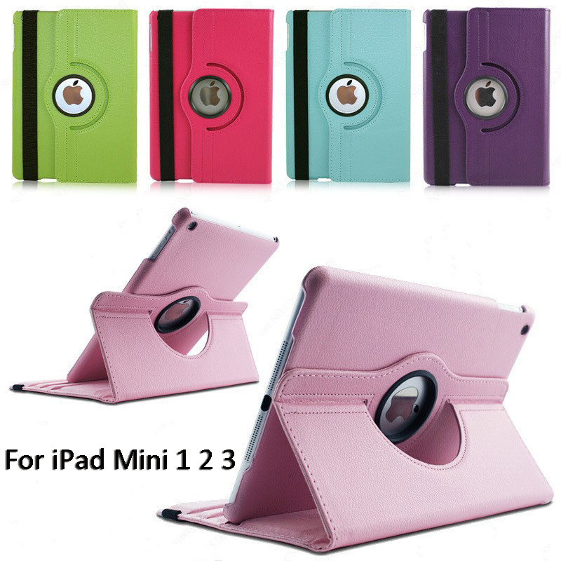 360Degree Rotating Leather Smart Shell Cover Case for Apple <font><b>iPad</b></font> mini 1 2 3 Stand Flip Folio Screen Protector <font><b>Coque</b></font> 7.9 Funda image