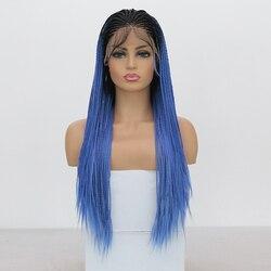 QUINLUX PERÜCKEN Ombre Blau Micro Geflochtene Perücke mit Baby Haar Hitze Beständig Faser Haar Synthetische Spitze Front Perücken für Frauen