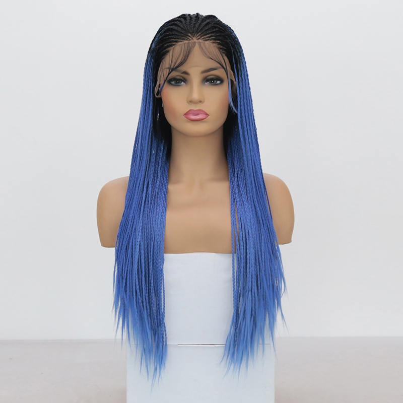 QUINLUX WIGS Ombre Blue Micro Braided Wig With Baby Hair Heat Resistant Fiber Hair Synthetic Lace Front Wigs For Women
