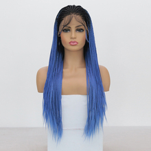 Braided WIG Hair Synthetic Heat-Resistant-Fiber Lace-Front Baby-Hair Micro Blue Ombre