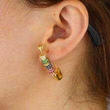 Ouro cheio colorido cz disco grânulo movendo frisado pino de segurança brinco lindo chique jóias femininas