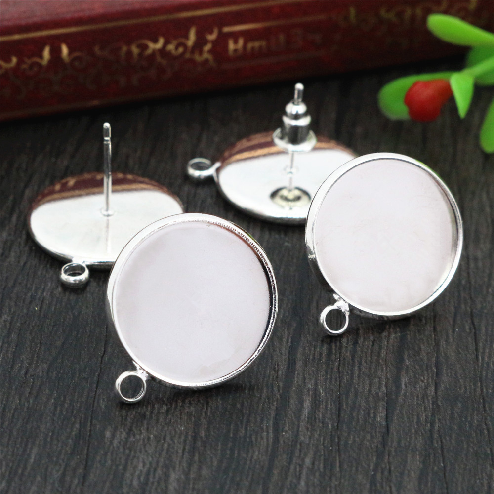 16mm 10pcs/Lot Silver Plated Colors Earring Studs,Earrings Blank/Base,Fit 16mm Glass Cabochons,earring Setting-T1-10