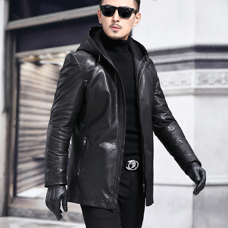 2020 New Men's Genuine Leather Jacket Hooded Vintage 100% Sheepskin Coat Autumn Winter Real Leather Jackets 135-1 J3118