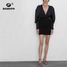 ROHOPO Puff Long Sleeve Solid Tunic Black Dress  V Collar Top Loose Elasticity Hem Sexy Party Mini Dress #9517 petal puff sleeve curved hem dress