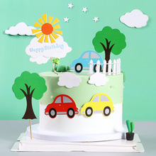 Small Car Happy Birthday Cake Topper Kids Birthday Party Cartoon Cupcake Toppers Baby Shower Cake Decorations Suppliies stitch animal birthday cake topper kids toys boys baby children birthday party small gifts decoration party cupcake toppers