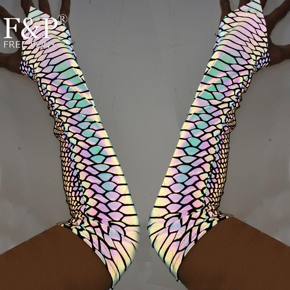 Holographic Rainbow Reflective Snake Print Fingerless Glove Hoop Pole Dance Outfit