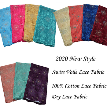 Alisa Latest Style African Nigerian Dry Lace Fabrics With Embroidery Fashion Swiss Voile Lace Fabrics With Stones For DIY Sewing
