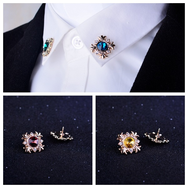 i-Remiel Original Fashion Crystal Mens Suit Decoration Lapel Pin for Women Rhinestone Brooch Button Shirt Collar Accessories