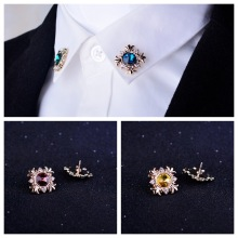i-Remiel Original Fashion Crystal Mens Suit Decoration Lapel Pin for Women Rhinestone Brooch Button Shirt Collar Accessories