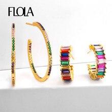 FLOLA Zircon Rainbow Hoop Earrings Woman 24K Gold Large Earing Jewelry Orecchino Donna Arcobaleno Hoops ersq98
