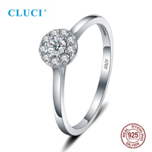 CLUCI Classic 925 Sterling Silver Zircon Women Wedding Engagement Ring Pave Setting  Zircons Gift Jewelry