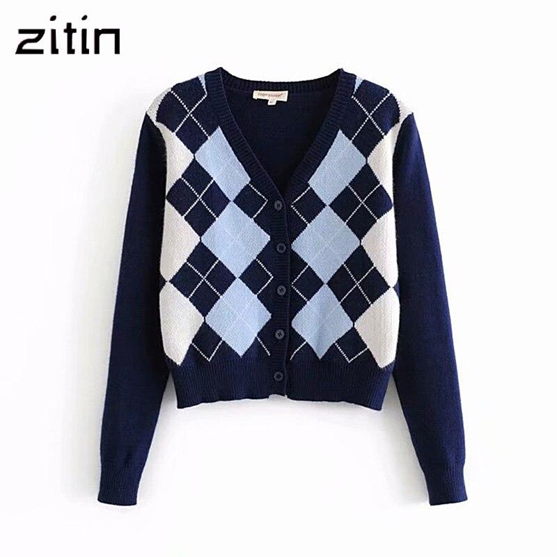 Cardigan Sweater Tops Rhombic Geometric Long-Sleeve England-Style Chic Warm Vintage Autumn