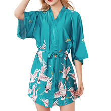 Women Sexy Sleepwear Fashion Printed Half Sleeves Silk Satin Kimono Robe Plus Size Bathrobe Pajamas Summer Nightgown with Belt novelty collarless half sleeves high low tassel embellished kimono for women