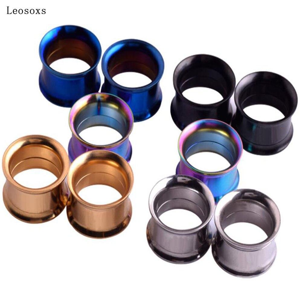 Leosoxs титановый профиль из нержавеющей стали с двойным Рогом, резьбовое Расширение уха, Панк Хип-хоп пирсинг ювелирные изделия