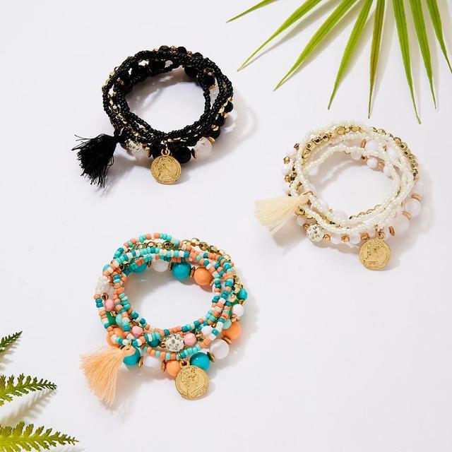 Frauen Mode Perlen Armbänder Multilayer Seed Bead Münze Charme Quaste Armband Set Weiblichen Armband Schmuck Party Geschenk 6 teile/satz