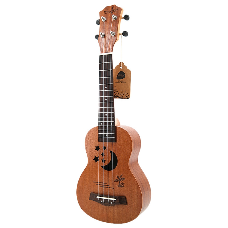 Soprano Ukulele 21 inch Sapele Star Pattern Ukulele 4 Nylon Strings Hawaii Mini Guitar Uke Fingerboard Rosewood Ukelele Music In