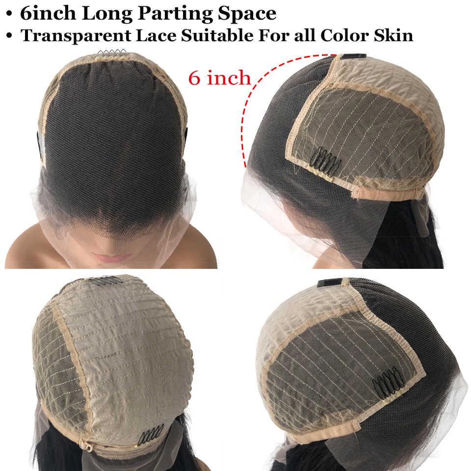 Прозрачные парики из натуральных волос на шнуровке HD, 6 дюймов, глубокая часть, 150% вьющиеся перуанские прямые волосы, 13x6