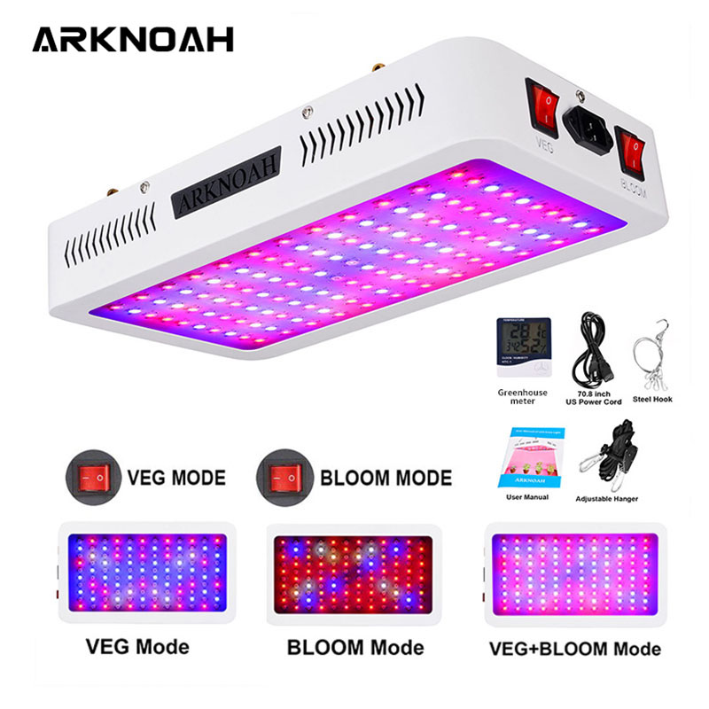 ARKNOAH LED Grow Light Full Spectrum 1200W 1500W 2000W Double Chip Red/Blue/UV/IR Grow Lamps For Indoor Plants VEG BLOOM