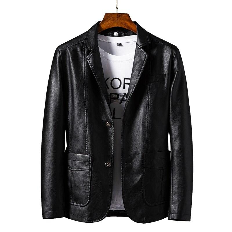 New Men Autumn Motorcycle Causal Vintage Leather Jacket Coat Men Fashion Biker Button Pocket Design PU Leather Jacket Men 6XL