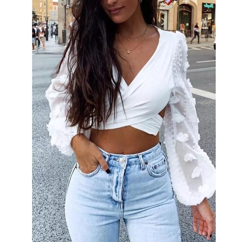 2020 Women Sexy Backless Bandage Bow Blouses Mesh Flower Long Sleeve V-Neck Cropped Shirt Female White Elegant Office Lady Blusa