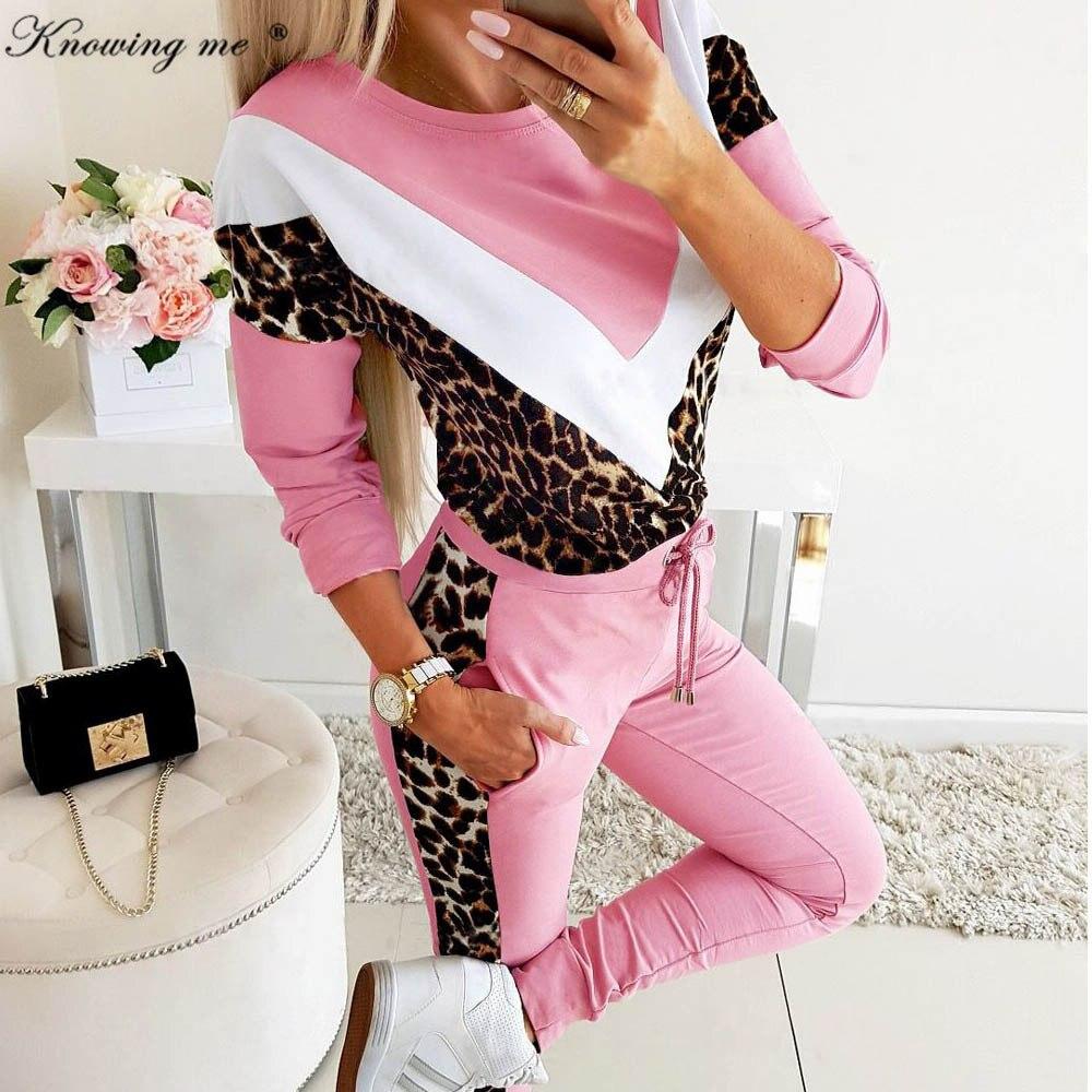 Women 2020 Spring Leopard Patchwork Suit Tracksuit Set Lady Autumn Casual Drawstring Two-piece Jogging + Sweatshirt Set Female