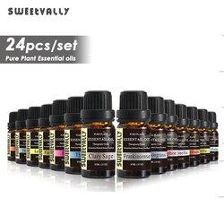Sweetvally 24 шт./набор растительный ароматерапия диффузоры эфирное масло 10 мл органический массаж тела расслабляющий аромат уход за кожей набор