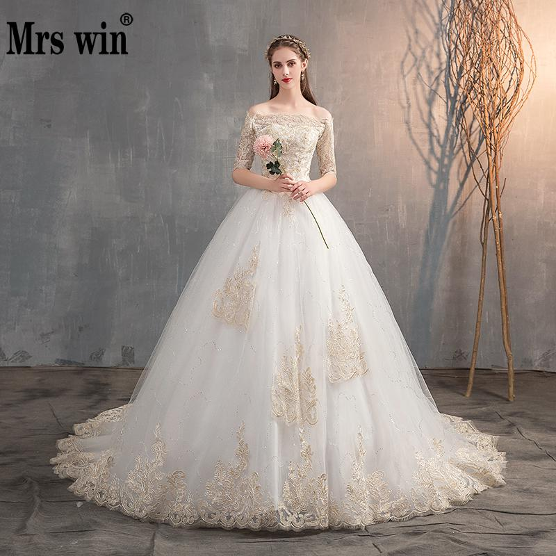 Mrs Win 2020 Wedding Dress Off The Shoulder Half Sleeve Wedding Gown Lace Applique Plus Size Simple Wedding Dress Robe De Mariee