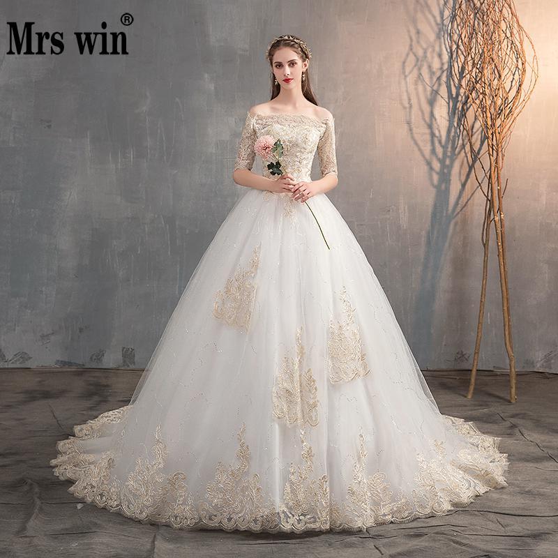 Mrs Win 2020 Wedding Dress Off The Shoulder Half Sleeve Wedding Gown Lace Applique Plus Size Simple Wedding Dress Robe De Mariee
