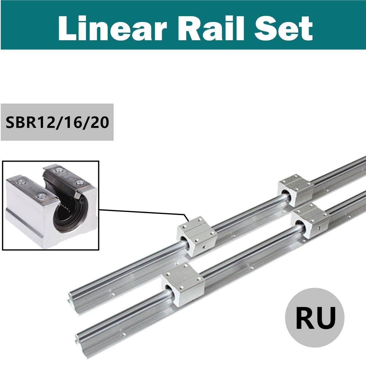 RU expédition 2 pièces SBR12/16/20 300-1500mm 12/16/20MM arbre de guidage de glissière de Rail de roulement linéaire + 4 pièces SBR12UU blocs pour Machine à CNC