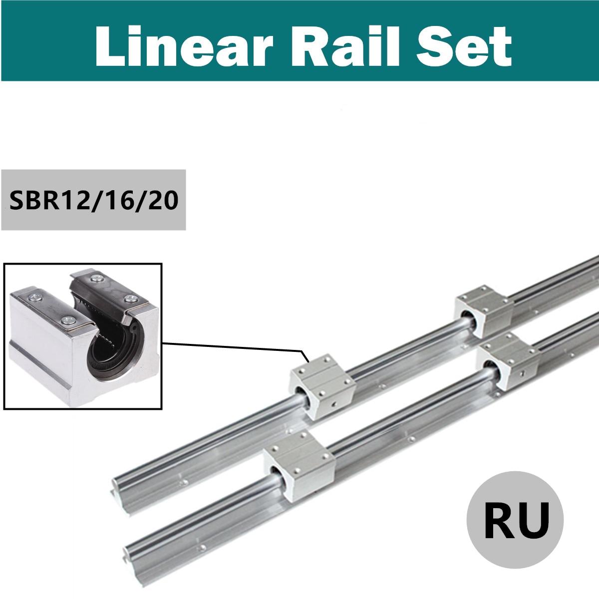 Ru Verzending 2Pcs SBR12/16/20 300-1500 Mm 12/16/20 Mm Lineaire lager Rail Slide Gids As + 4 Stuks SBR12UU Blokken Voor Cnc Machine